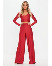 Missguided - Red Disco Slinky Wide Leg Trousers - Lyst