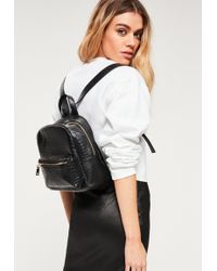 Missguided - Black Mini Croc Effect Backpack - Lyst