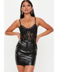 Missguided - Black Sport Tape Corded Lace Bodysuit - Lyst