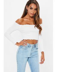 Missguided - White Lettuce Hem Bardot Crop Top - Lyst