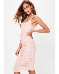 Missguided - Nude Slinky Gathered Side Midi Dress - Lyst