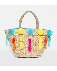 Missguided - Nude Pom Pom Tassle Shopper Bag - Lyst