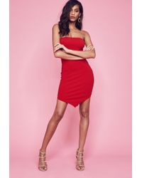 Missguided - Red Stretch Crepe Hanky Hem Bodycon Dress - Lyst