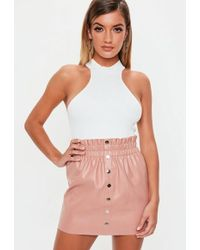 c76fe5d1a6 Missguided Nude Button Frill Hem Detail Mini Skirt in Natural - Lyst