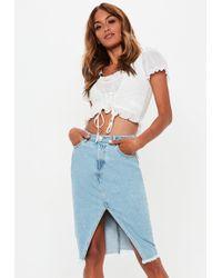Missguided - Blue Denim Split Front Frayed Hem Midi Skirt - Lyst