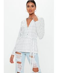 6f81fd7f09e Lyst - Missguided Blue Scarf Print Oversized Shirt in Blue