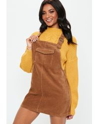 5a322d2d970 Missguided Plus Size Leather Zip Back Midi Dress Tan in Brown - Lyst