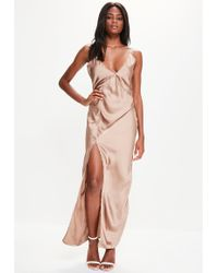 Missguided - Gold Silky Plunge Maxi Dress - Lyst