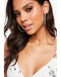 Missguided - Gold Faux Leather Textured Hoop Earrings - Lyst