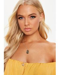 Missguided - Gold Look Coin Ditsy Necklace - Lyst