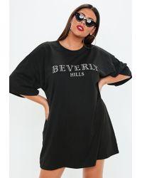 Missguided - Plus Size Black Oversized T-shirt Dress - Lyst