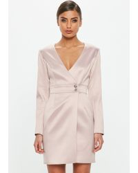 Missguided - Peace + Love Pink Satin Tailored Wrap Dress - Lyst