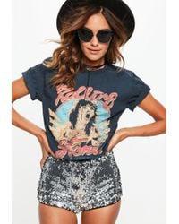 Missguided - Navy Rolling Stone T-shirt - Lyst