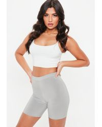 Missguided - Tall Grey Slinky Cycling Shorts - Lyst