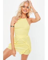 Missguided - Yellow Gingham Frill Skirt - Lyst