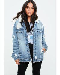 Missguided Blue Borged Lined Denim Trucker