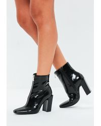 Missguided - Black Feature Heel Full Zip Ankle Boots - Lyst