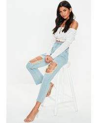 e09f78bf574 Missguided - Blue Wrath Vintage Wash Rip Straight Leg Jeans - Lyst