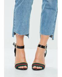 Missguided - Black Striped Detail Block Heeled Sandals - Lyst