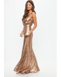 Missguided - Bridesmaid Copper Bridesmaid Sequin Strappy Plunge Dress - Lyst