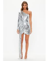 Missguided - Peace + Love Silver Sequin One Shoulder Wrap Mini Dress - Lyst