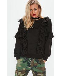Missguided - Black Oversized Frill Sweatshirt - Lyst