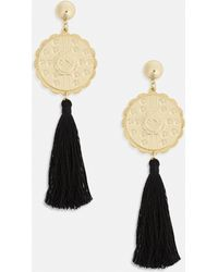 Missguided - Black Gold Plate Tassel Earrings - Lyst