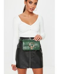 Missguided - Green Metal Ring Croc Bumbag - Lyst