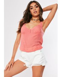 35950ecc8f79d3 Missguided Pink Chain Halterneck Top in Pink - Lyst