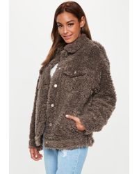 60a730e23710 Missguided - Chocolate Oversized Shaggy Borg Trucker Jacket - Lyst