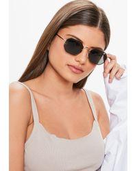 Missguided - Black 90s Circular Sunglasses - Lyst