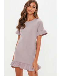 Missguided - Lilac Frill Detail Shift Dress - Lyst