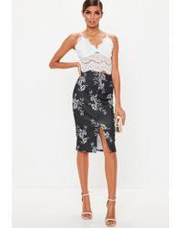 d9dd615a61 Lyst - Missguided Black Scuba Frill Hem Embroidered Mini Skirt in Black