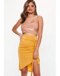 Missguided - Yellow Slinky Asymmetric Midi Skirt - Lyst