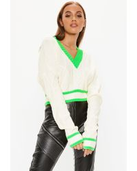 c59468104 Lyst - Missguided Ophelita Off Shoulder Jumper In Lime in Green