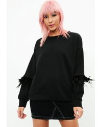 Missguided - Black Feather Sleeve Sweatshirt - Lyst