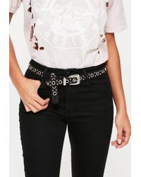 Missguided - Black Eyelet Studded Faux Suede Belt - Lyst
