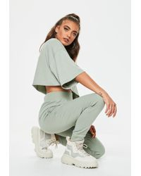 Missguided - Green Jersey Elasticated Joggers - Lyst