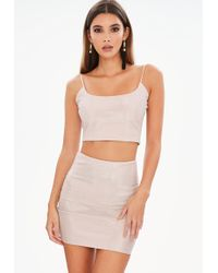 17c730f6f7 Missguided - Nude Metalic Co Ord Set - Lyst