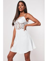 6f23d91fec1 Missguided Cut Out Bust Midi Dress White in White - Lyst