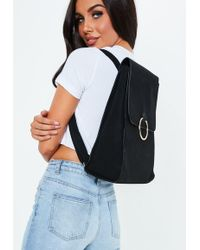Missguided - Black Ring Detail Backpack - Lyst