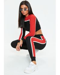 Missguided - Red Sports Stripe Loungewear Co Ord Set - Lyst