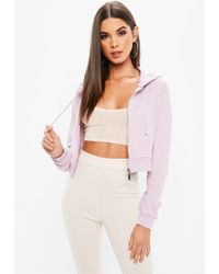 Missguided - Lilac Zip Front Cropped Hoodie - Lyst