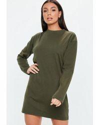 Missguided - Khaki Long Sleeve T-shirt Dress - Lyst