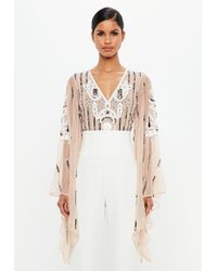 Missguided - Peace + Love Nude Embellished Plunge Mesh Bodysuit - Lyst