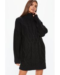 Missguided - Black Cable Roll Neck Knitted Sweater Dress - Lyst