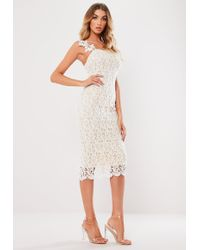 113895711b4f9 Lyst - Missguided White One Shoulder Cape Midi Dress in White