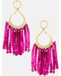 Missguided - Gold Drop Hoop Pink Sequin Tassel Earrings - Lyst