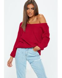 Missguided Petite In Off Shoulder Lyst Sweater Cable Knit The Navy f4dwASHAgq