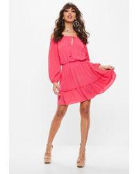5ec94fb1b390b Lyst - Missguided Plus Size Velvet Skater Dress Pink in Pink